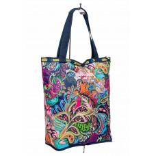 На фото 1 - Складной текстильный шоппер с принтом, мультицвет
