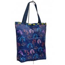 На фото 1 - Складной текстильный шоппер с принтом, цвет тёмно-синий