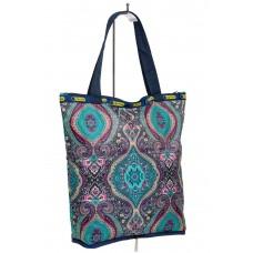 На фото 1 - Складной текстильный шоппер с принтом, разноцветный