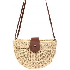 На фото 2 - Ажурная сумка седло из ротанга, цвет бежевый
