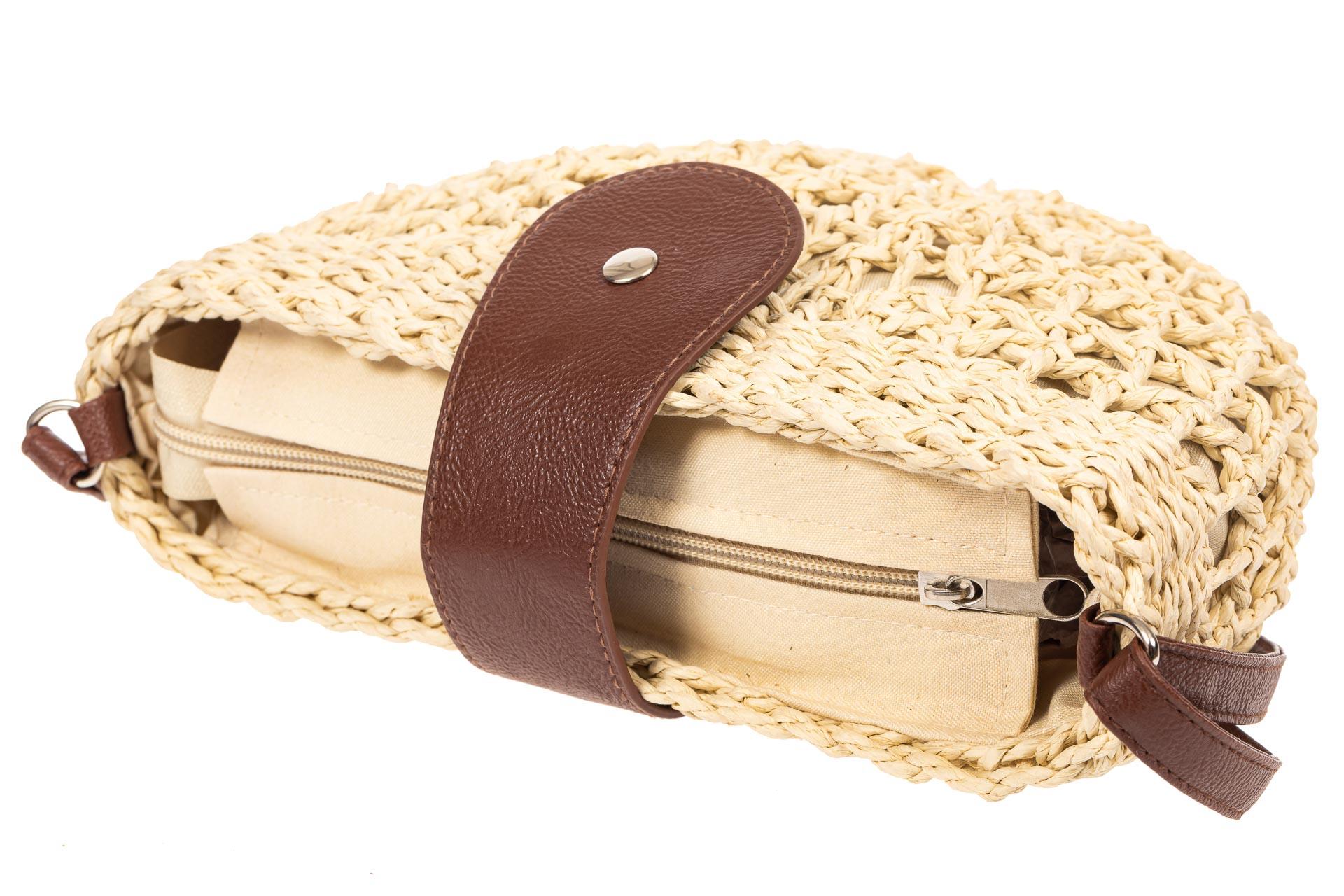 На фото 4 - Ажурная сумка седло из ротанга, цвет бежевый