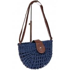 На фото 1 - Сумка седло ажурная плетеная из ротанга, цвет синий