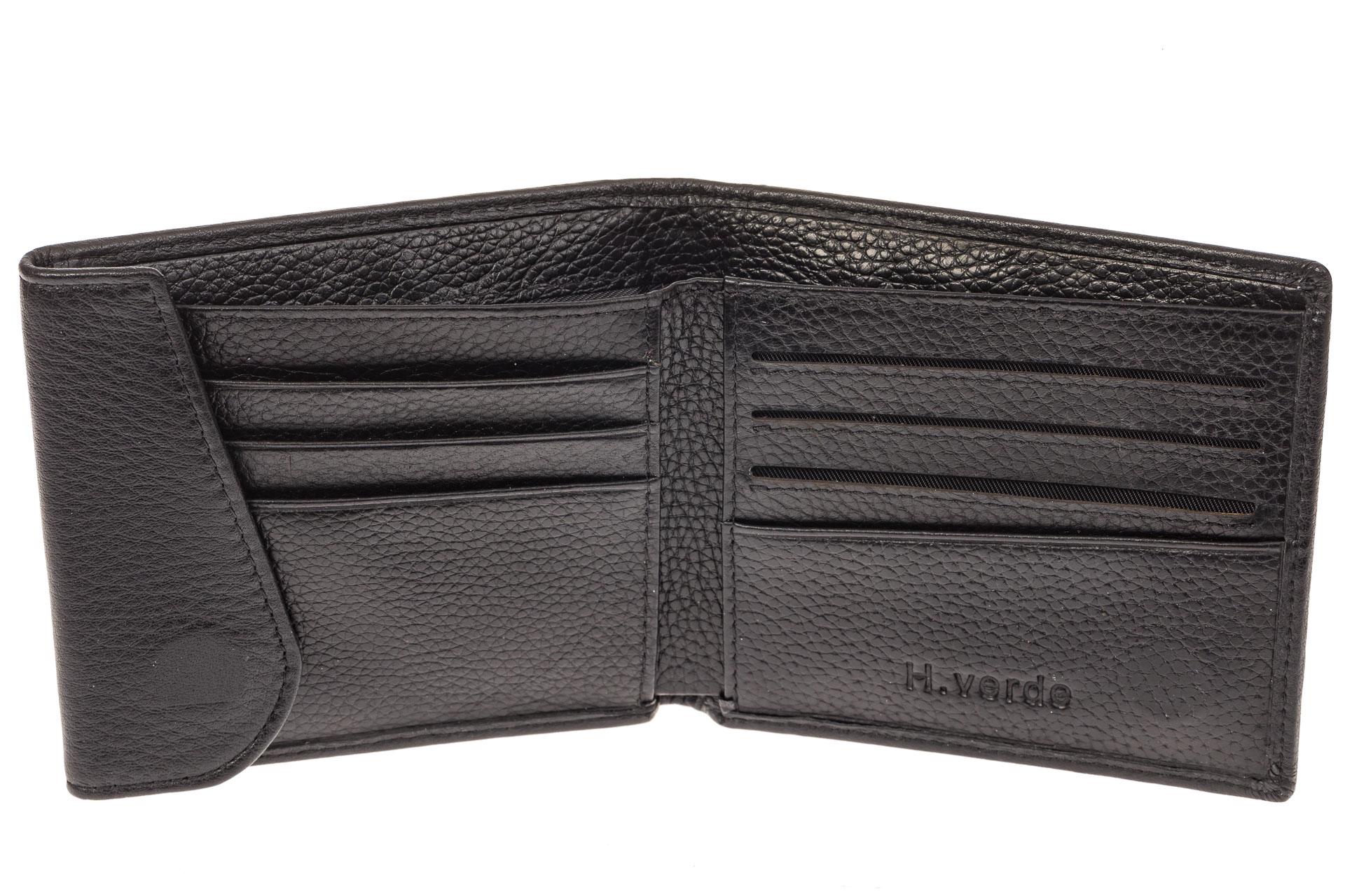 На фото 2 - Строгий мужской кошелек из натуральной черной кожи