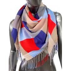 На фото 1 - Клетчатый платок-палантин из хлопка, красные, синие и коричневые оттенки