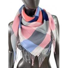 На фото 1 - Клетчатый платок-палантин из хлопка, оттенки пастели