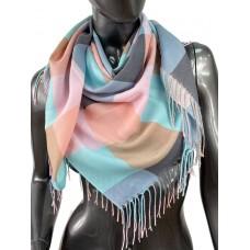 На фото 1 - Клетчатый платок-палантин из хлопка, пастельные оттенки
