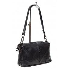 На фото 1 - Чёрная женская сумка с геометрической строчкой из мягкой экокожи