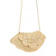 На фото 1 - Плетеная сумка кросс-боди из джута с декором бусинами, цвет молочный