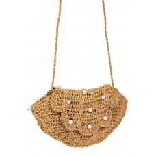 На фото 1 - Плетеная сумка кросс-боди из джута с декором бусинами, цвет крафт