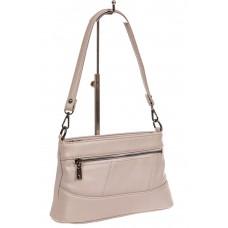 На фото 1 - Классическая женская сумка из фактурной искусственной кожи, цвет светло-серый
