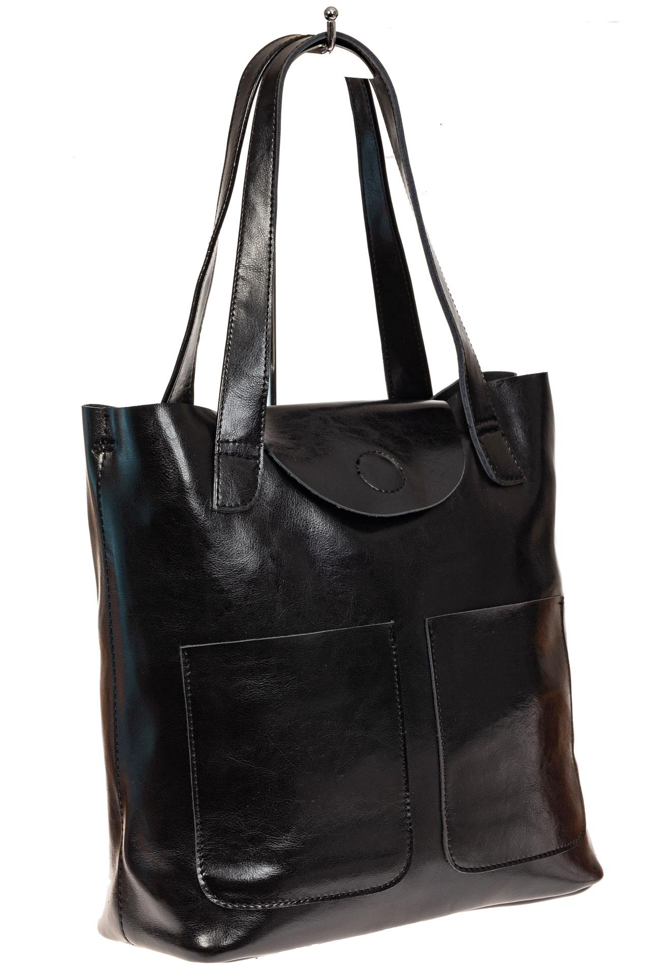 На фото 1 - Женская сумка-пакет из натуральной кожи, цвет черный