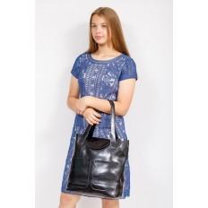 На фото 4 - Женская сумка-пакет из натуральной кожи, цвет черный