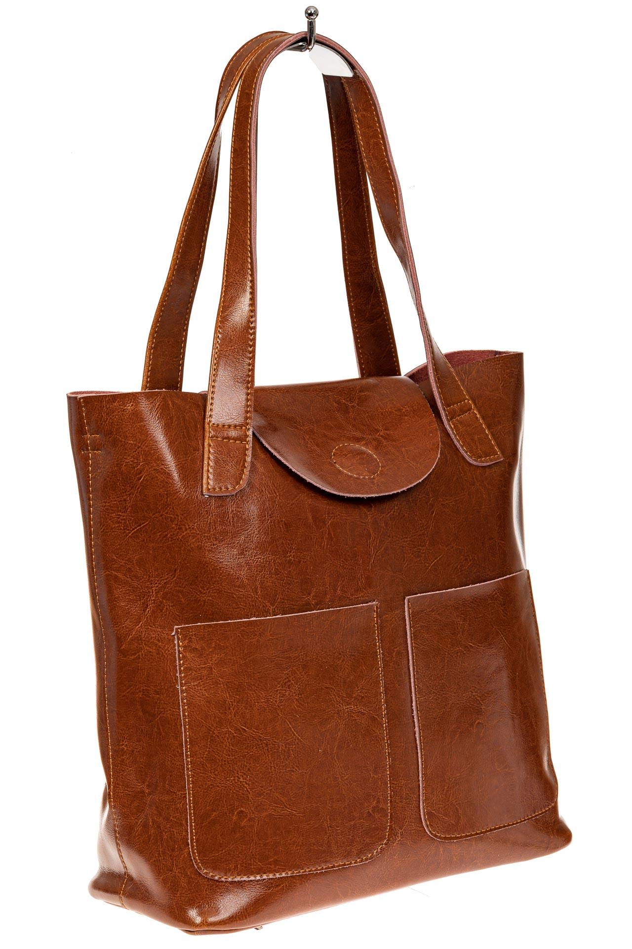 На фото 1 - Женская сумка-пакет из натуральной кожи, цвет рыжий