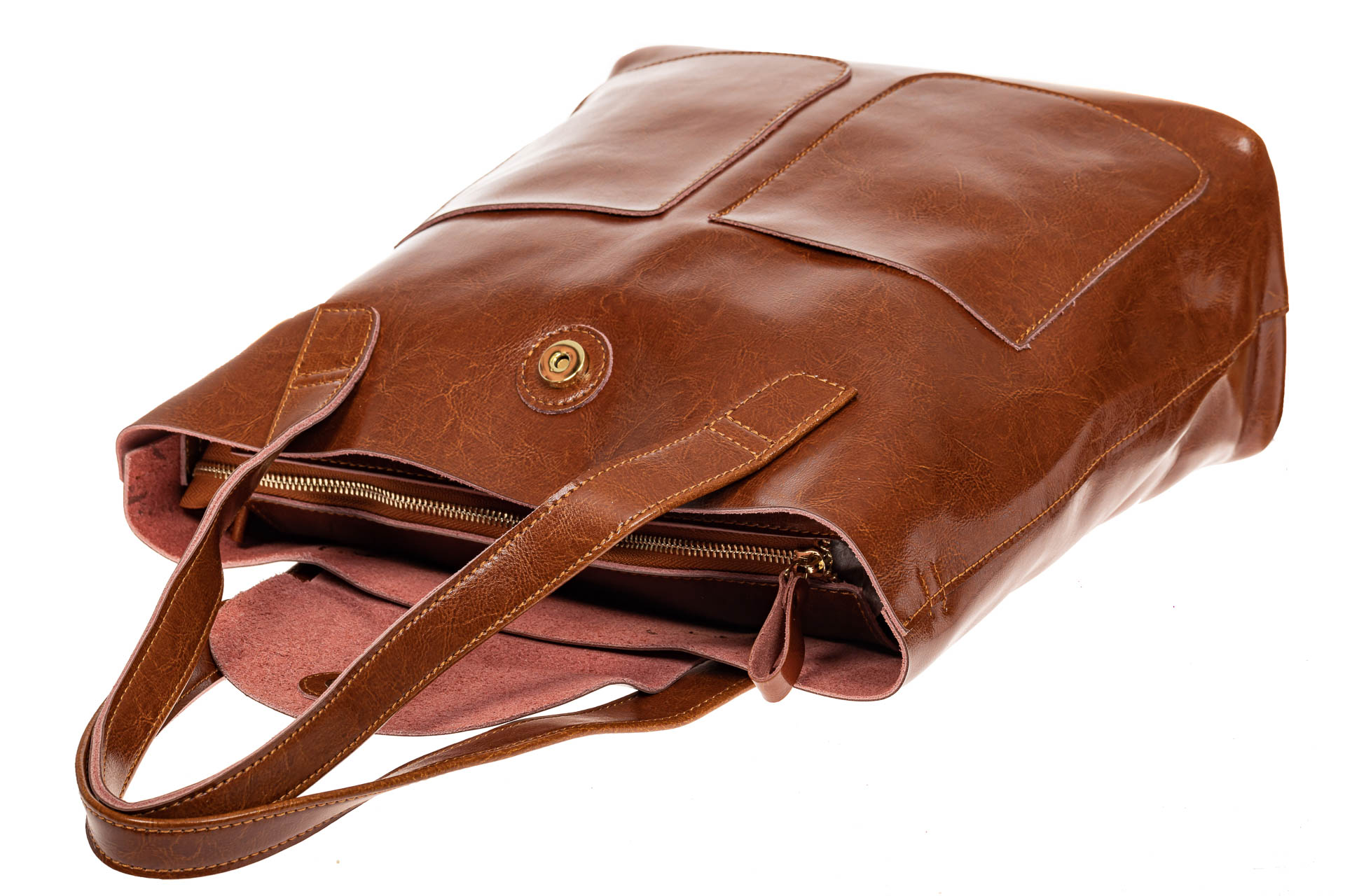 На фото 3 - Женская сумка-пакет из натуральной кожи, цвет рыжий