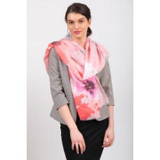 На фото 1 - Нарядный шейный палантин-платок-шарф, розовый