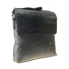 На фото 1 - Мужская сумка мессенджер через плечо из экокожи, цвет чёрный