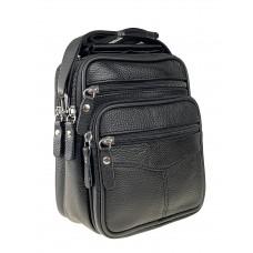 На фото 1 - Мужская кожаная сумка для документов, цвет чёрный