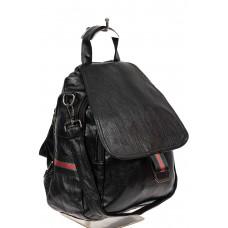 На фото 1 - Молодёжный рюкзак-трансформер из искусственной кожи, цвет чёрный