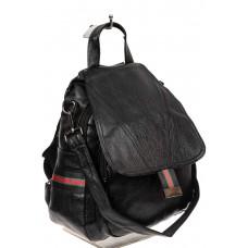 На фото 1 - Молодёжный рюкзак-трансформер из чёрной искусственной кожи, цвет чёрный