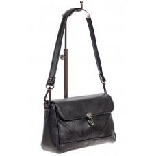 На фото 1 - Маленькая женская сумка из искусственной кожи с застёжкой, цвет чёрный