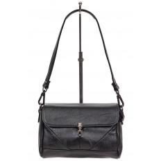На фото 2 - Маленькая женская сумка из искусственной кожи с застёжкой, цвет чёрный