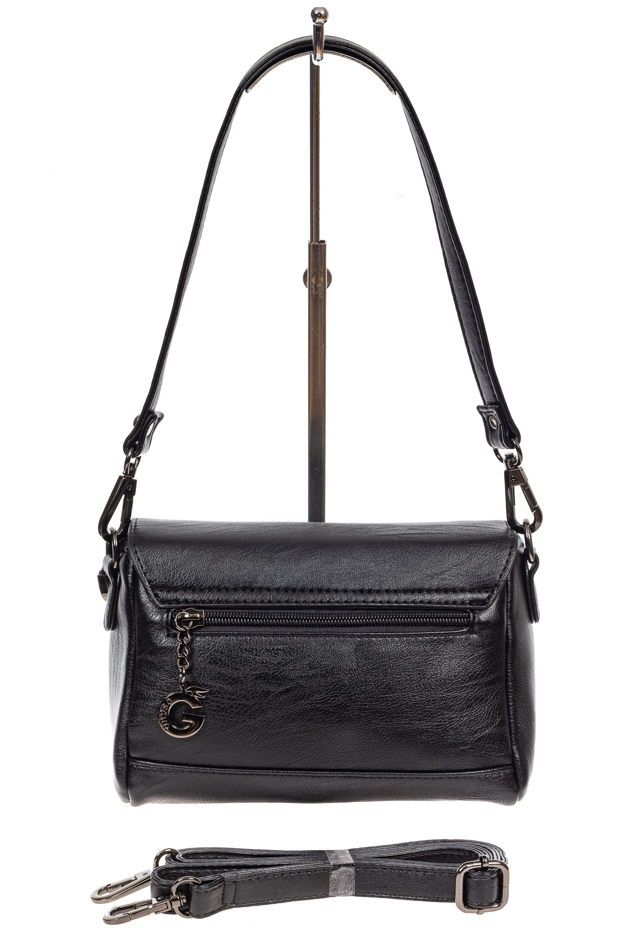 На фото 3 - Маленькая женская сумка из искусственной кожи с застёжкой, цвет чёрный