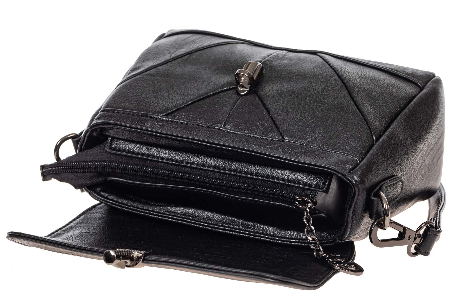 На фото 4 - Маленькая женская сумка из искусственной кожи с застёжкой, цвет чёрный