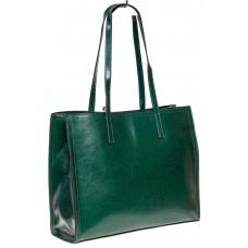 На фото 1 - Строгий женский тоут из натуральной кожи, цвет зелёный