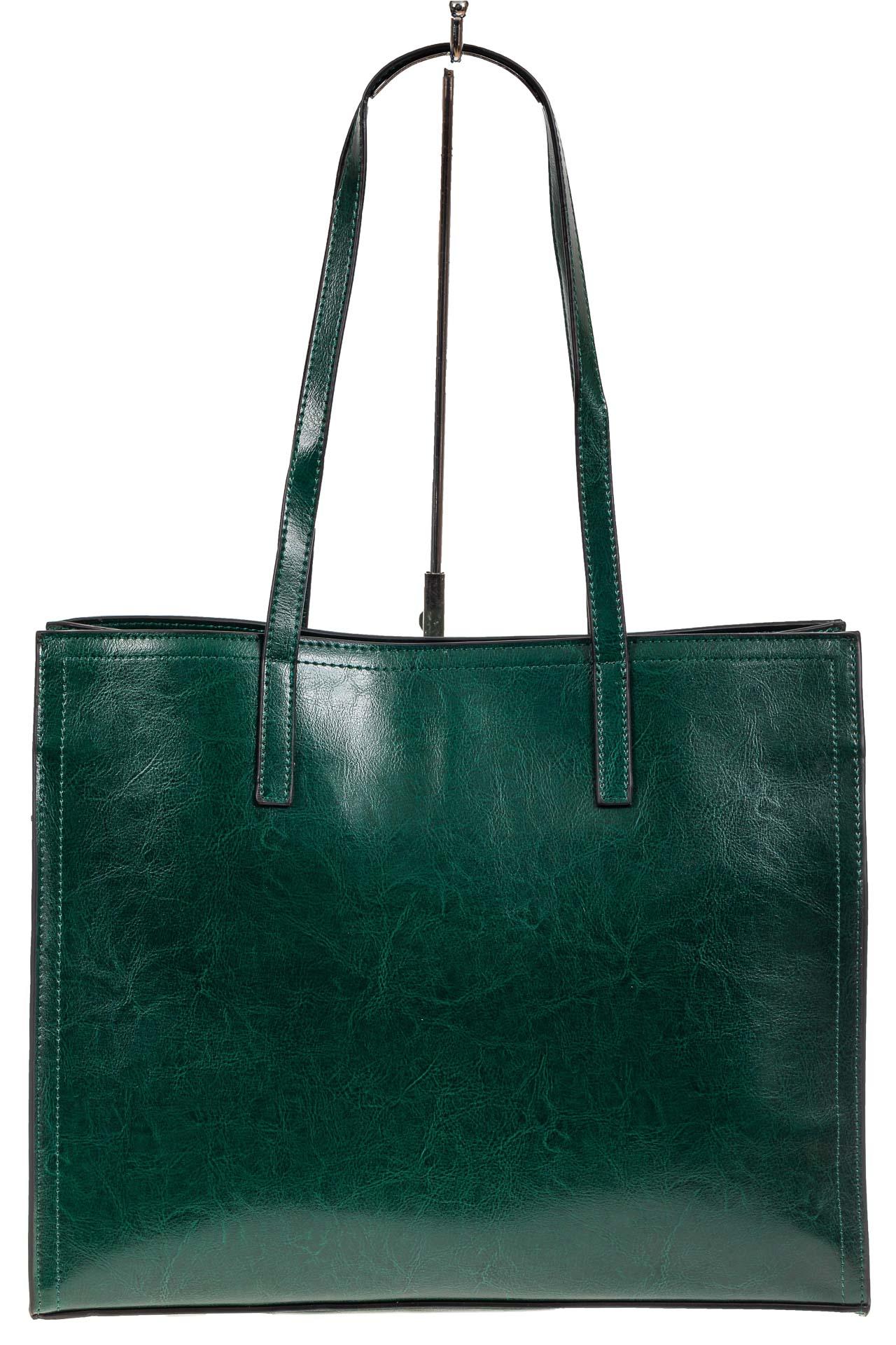 На фото 2 - Строгий женский тоут из натуральной кожи, цвет зелёный
