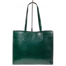На фото 3 - Строгий женский тоут из натуральной кожи, цвет зелёный