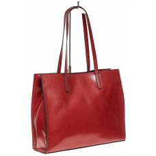 На фото 1 - Строгий женский тоут из натуральной кожи, цвет бордовый