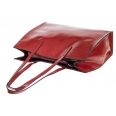 На фото 4 - Строгий женский тоут из натуральной кожи, цвет бордовый