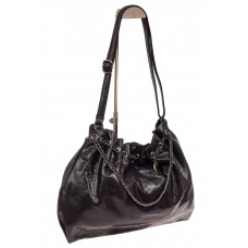 На фото 1 - Мягкая женская сумка из искусственной кожи, цвет черный