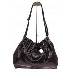 На фото 2 - Мягкая женская сумка из искусственной кожи, цвет черный