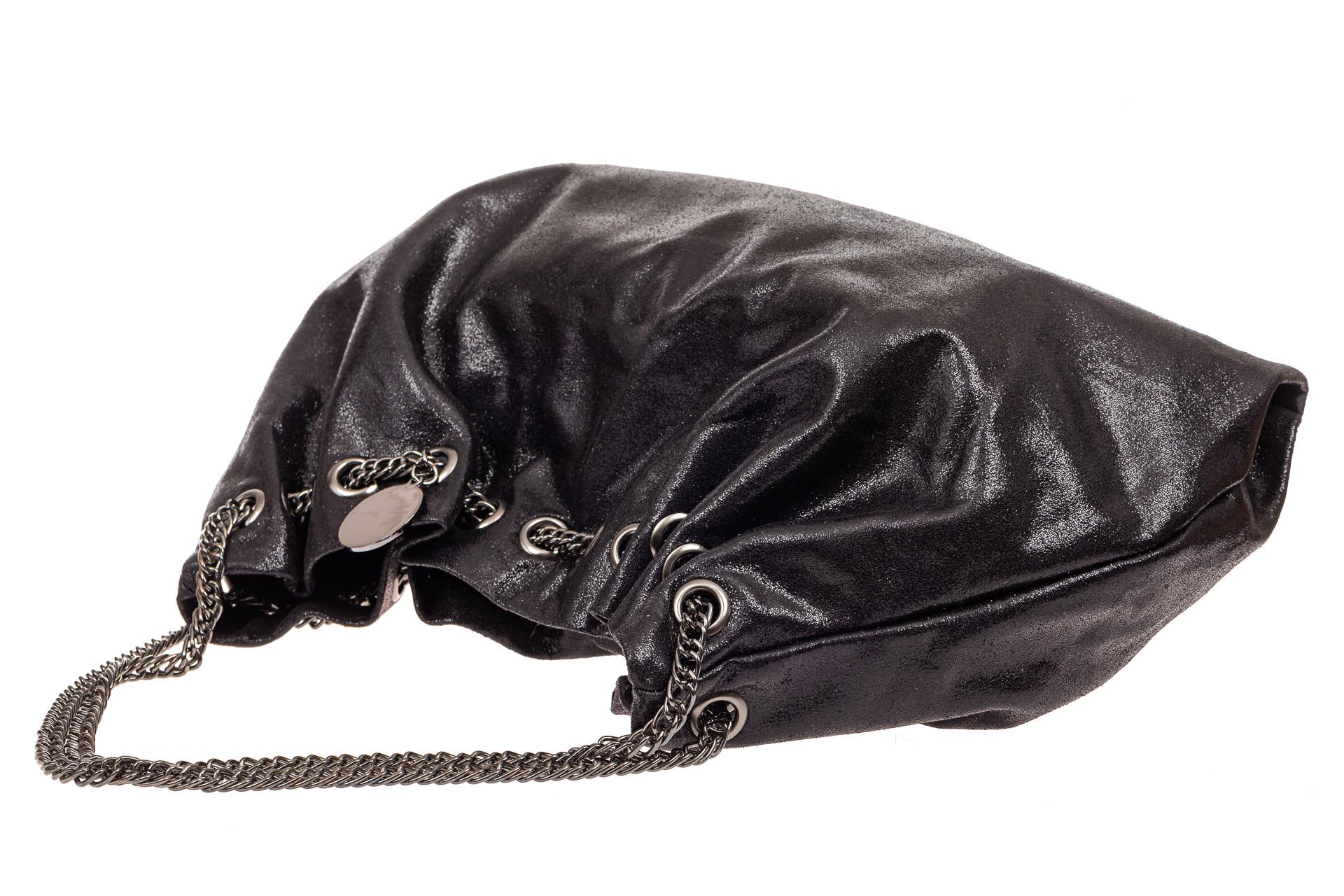 На фото 4 - Мягкая женская сумка из искусственной кожи, цвет черный