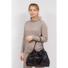 На фото 5 - Мягкая женская сумка из искусственной кожи, цвет черный