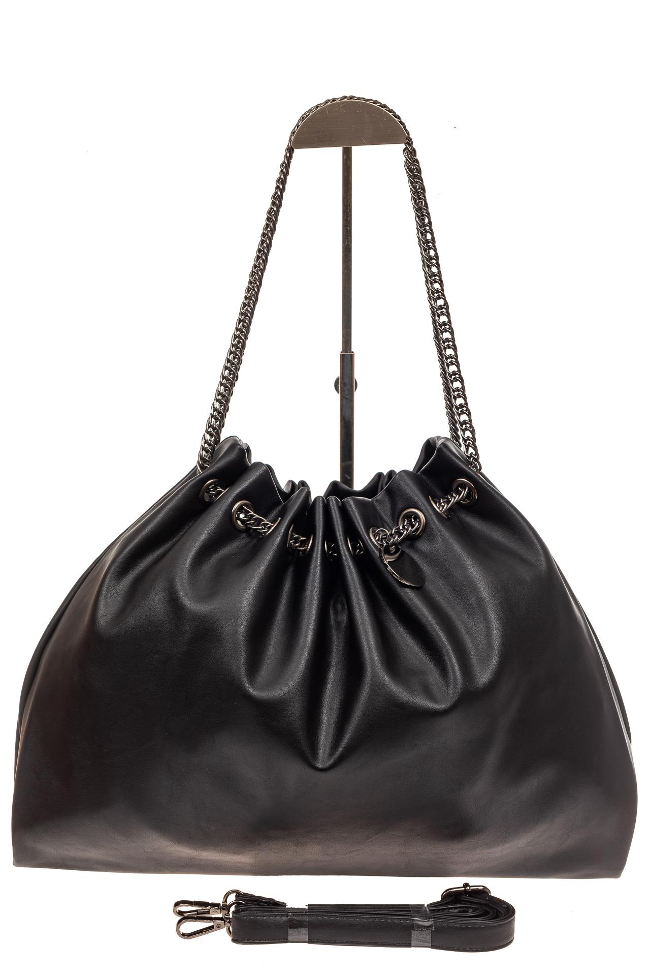На фото 3 - Мягкая женская сумка из искусственной кожи, цвет черный