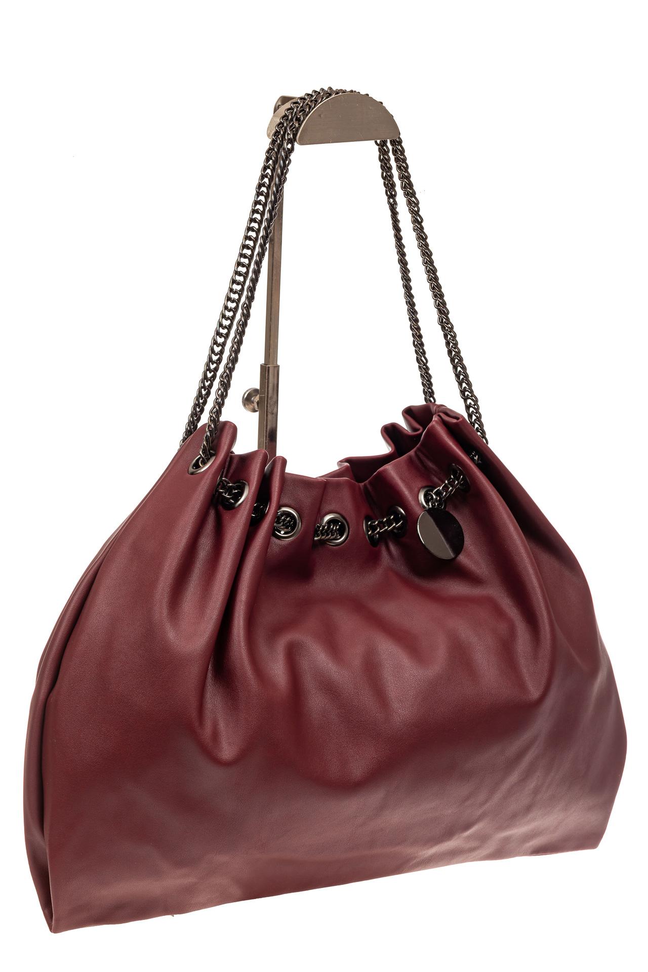 На фото 1 - Мягкая женская сумка из искусственной кожи, цвет бордо