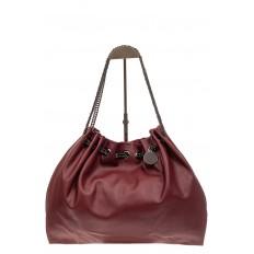 На фото 2 - Мягкая женская сумка из искусственной кожи, цвет бордо