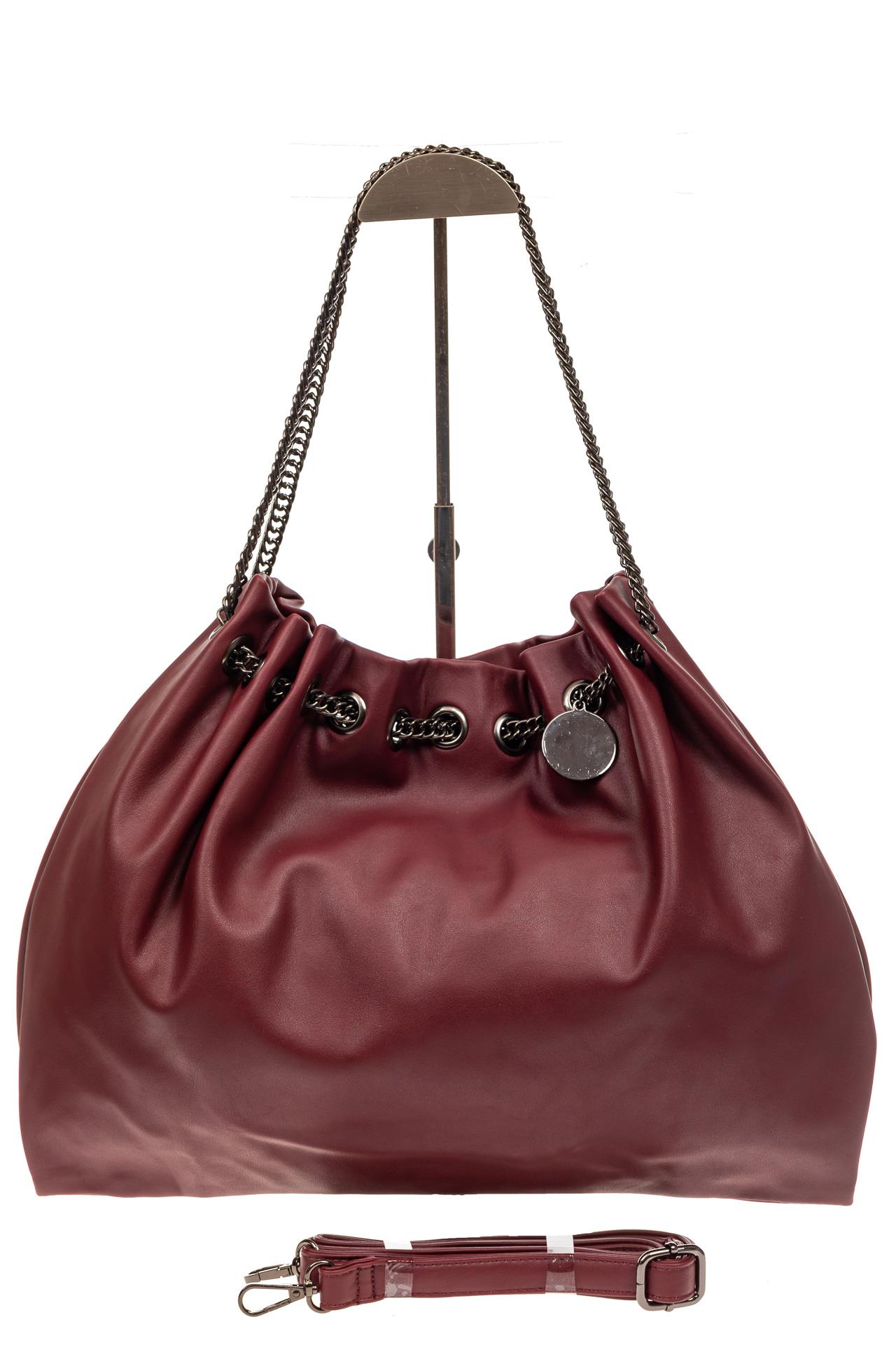 На фото 3 - Мягкая женская сумка из искусственной кожи, цвет бордо