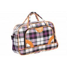 На фото 1 - Дорожная сумка, цвет фиолетовая клетка