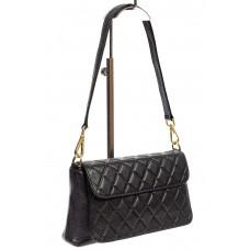 На фото 1 - Стёганая маленькая сумочка из натуральной кожи, цвет чёрный