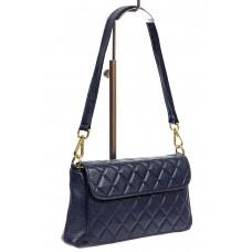 На фото 1 - Стёганая маленькая сумочка из натуральной кожи, цвет синий