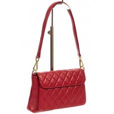 На фото 1 - Стёганая маленькая сумочка из натуральной кожи, цвет красный