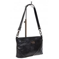 На фото 1 - Чёрная женская сумочка из мягкой экокожи