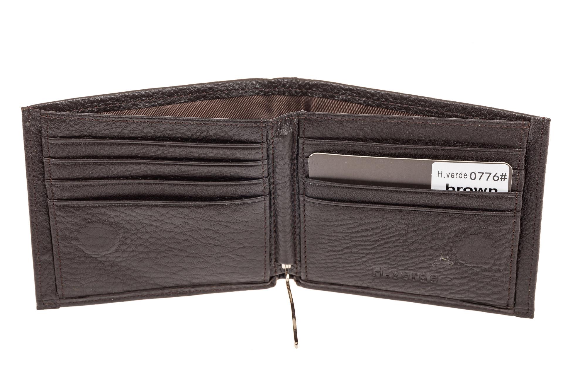 На фото 2 - Компактное мужское портмоне из натуральной кожи, цвет коричневый