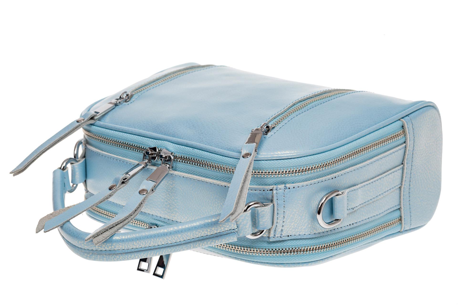 На фото 3 - Сумка-купол из натуральной кожи, цвет голубой перламутр