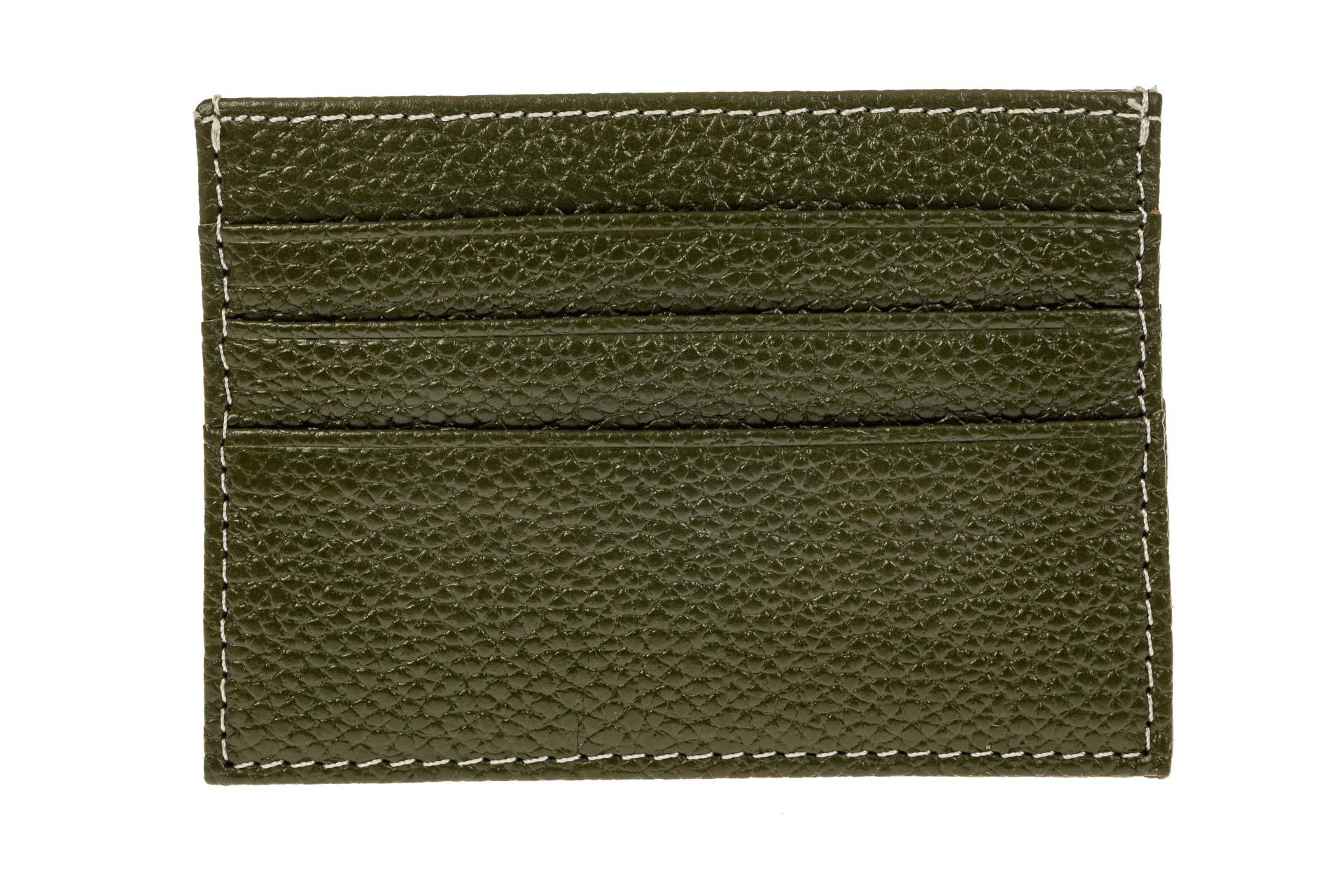 На фото 1 - Картхолдер на 6 карт из натуральной кожи, цвет зеленый