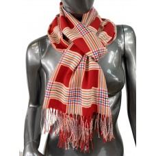 На фото 1 - Лёгкий клетчатый шарф-палантин из хлопка и бамбука, цвет красный