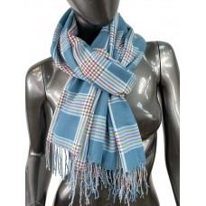 На фото 1 - Лёгкий клетчатый шарф-палантин из хлопка и бамбука, цвет бирюзовый